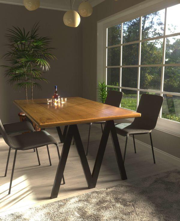 Stół kuchenny z drewnianym blatem Lora